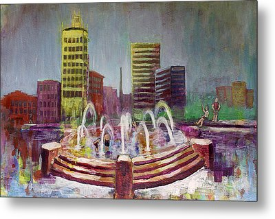 Fun In The Fountain In Asheville Metal Print by Gray  Artus