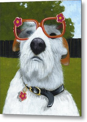 Fun In The Sun ... Dog With Glasses Painting Metal Print by Amy Giacomelli