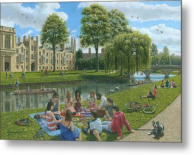Fun On The River Cam Cambridge Metal Print