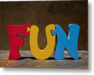 Fun Puzzle Painted Wood Letters Metal Print by Donald  Erickson