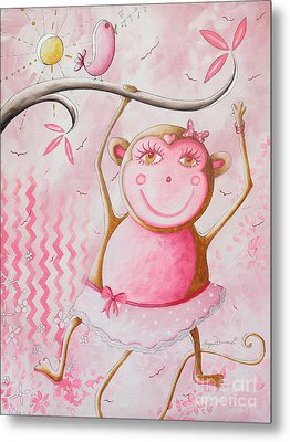 Fun Whimsical Pink Monkey Princess Baby Girl Nursery Painting By Megan Duncanson Metal Print by Megan Duncanson