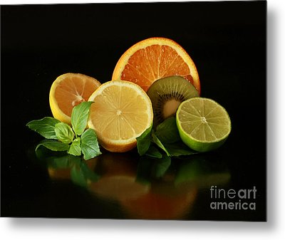 Fun With Citrus And Kiwi Fruit Metal Print by Inspired Nature Photography Fine Art Photography