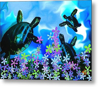 Fun With Sea Turtles Metal Print by Lady Ex