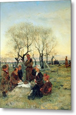 Funeral Repast At The Grave, 1884 Oil On Canvas Metal Print