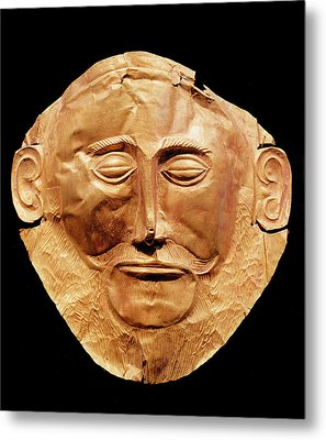Funerary Mask From Mycenae, Formerly Thought To Be That Of Agamemnon Gold Metal Print by Mycenaean