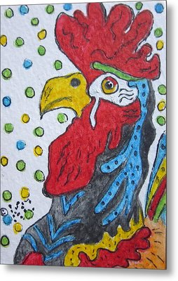 Funky Cartoon Rooster Metal Print