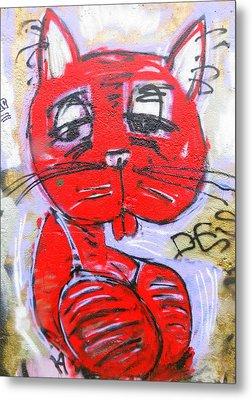 Funky Feline Metal Print by Ramona Johnston