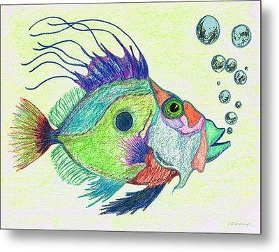 Funky Fish Art - By Sharon Cummings Metal Print by Sharon Cummings