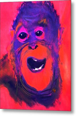 Funky Monkey Happy Chappy Metal Print