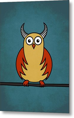 Funny Cartoon Horned Owl  Metal Print