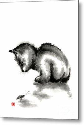 Funny Cute Little Black Cat And Beetle Japanese Sumi-e Original Ink Painting Art Print Metal Print by Mariusz Szmerdt