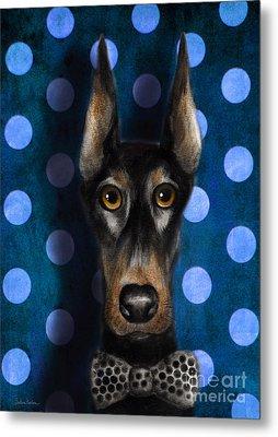 Funny Doberman Pincher Gentleman Dog Portrait Metal Print by Svetlana Novikova