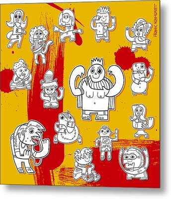 Funny Doodle Characters Urban Art Metal Print by Frank Ramspott