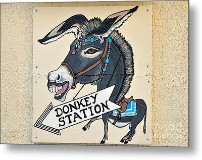 Funny Sign In Fira City Metal Print by George Atsametakis