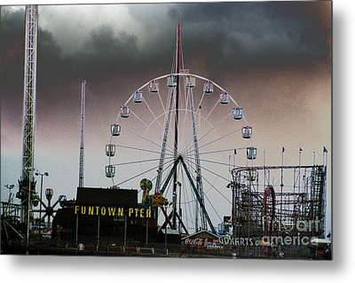 Funtown Pier Metal Print by Kathy Flugrath Hicks
