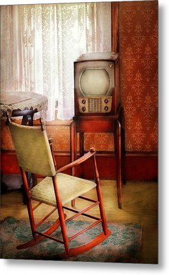 Furniture - Chair - The Invention Of Television  Metal Print by Mike Savad