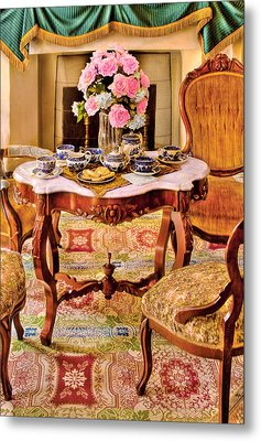 Furniture - Chair - The Tea Party Metal Print by Mike Savad