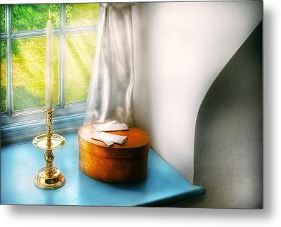 Furniture - Lamp - In The Window  Metal Print by Mike Savad