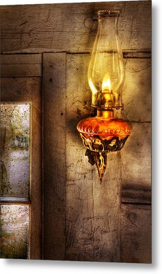 Furniture - Lamp - Kerosene Lamp Metal Print by Mike Savad