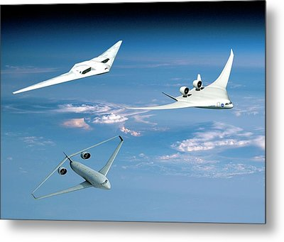 Future Green Aircraft Metal Print
