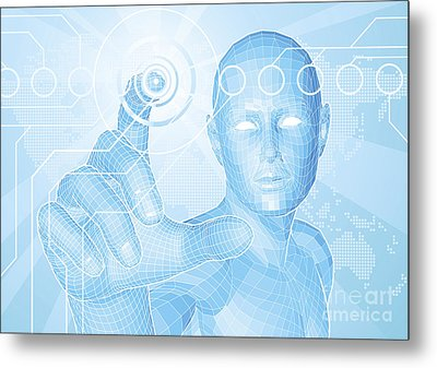 Future Man Touch Screen Concept Metal Print by Christos Georghiou