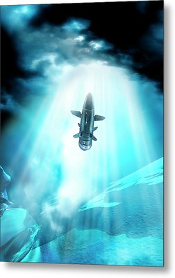 Futuristic Space Craft Metal Print by Victor Habbick Visions