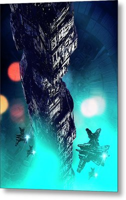Futuristic Space Station Metal Print by Victor Habbick Visions