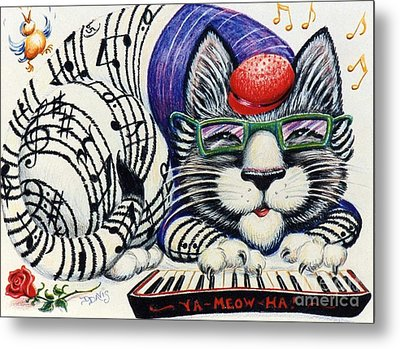 Metal Print featuring the drawing Fuzzy Catterwailen by Dee Davis
