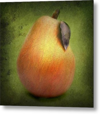 Fuzzy Pear Metal Print by Nina Bradica