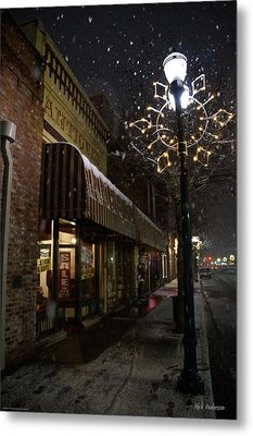 G Street Antique Store In The Snow Metal Print by Mick Anderson
