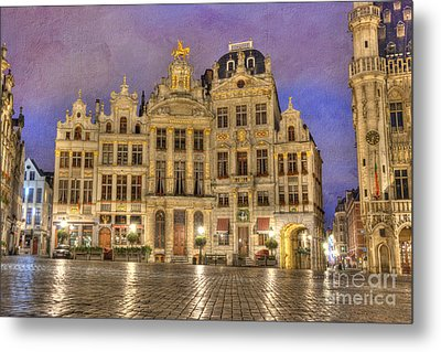 Gabled Buildings In Grand Place Metal Print by Juli Scalzi