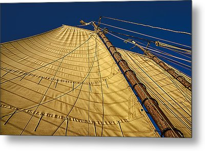 Metal Print featuring the photograph Gaff Rigged Mainsail by Marty Saccone