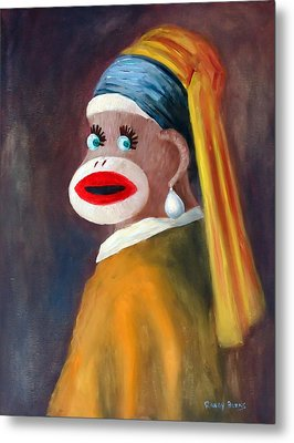 Metal Print featuring the painting Gal With A Pearl Earbob by Randol Burns