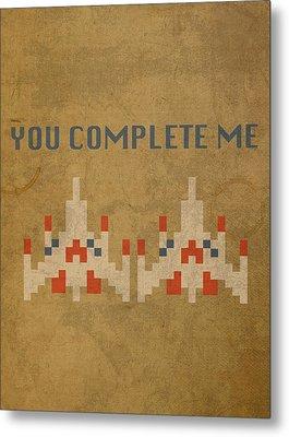 Galaga Vintage Video Game Art You Complete Me Metal Print
