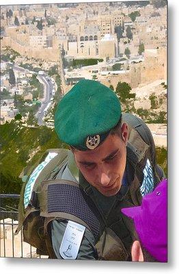 Gallant And Kind Israeli Soldier Metal Print by Sandra Pena de Ortiz