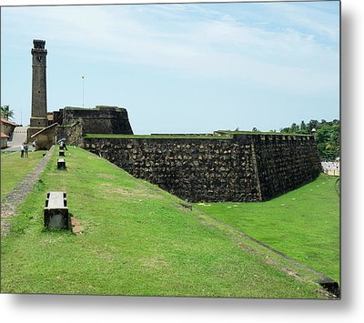 Galle Fort Clock Tower And Rampart Metal Print by Panoramic Images