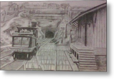 Metal Print featuring the drawing Gallitzin Tunnel by Thomasina Durkay