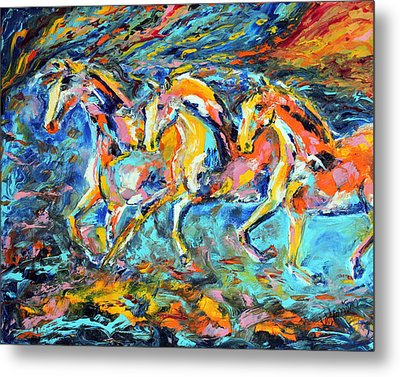 Galloping Sunset Metal Print