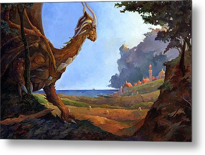 Galversharn The Dragon Looking For Her Eggs Metal Print by Storn Cook