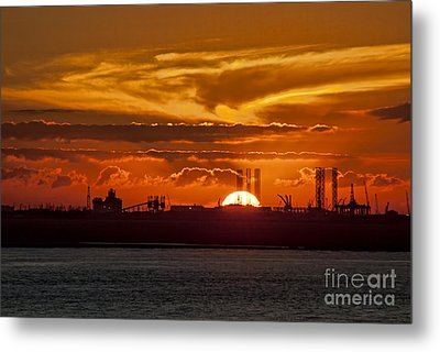 Metal Print featuring the photograph Galveston At Sunset by Shirley Mangini