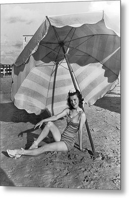 Galveston Beach Girl Metal Print by Underwood Archives
