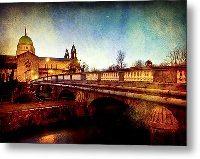 Galway Cathedral And The Salmon Weir Bridge Metal Print by Mark Tisdale