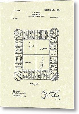 Game Board 1904 Patent Art Metal Print by Prior Art Design