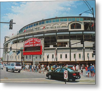 Game Day At Wrigley Metal Print by Steve Wilson