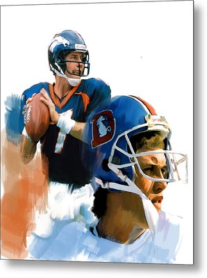 Game Elway  John Elway Metal Print by Iconic Images Art Gallery David Pucciarelli