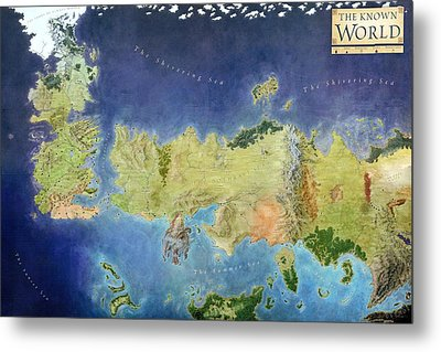 Game Of Thrones World Map Metal Print by Gianfranco Weiss