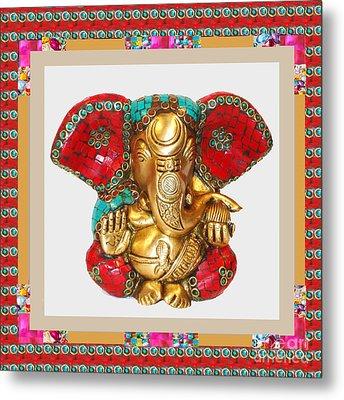 Ganapati Ganesh Idol Hinduism Religion Religious Spiritual Yoga Meditation Deco Navinjoshi  Rights M Metal Print