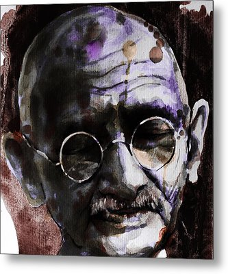 Metal Print featuring the painting Gandhi by Laur Iduc