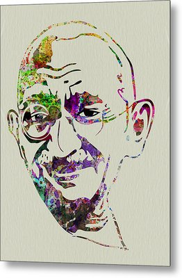Gandhi Watercolor Metal Print