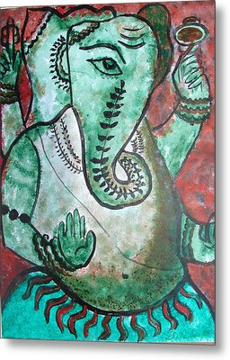 Metal Print featuring the painting Ganesh 10 by Anand Swaroop Manchiraju